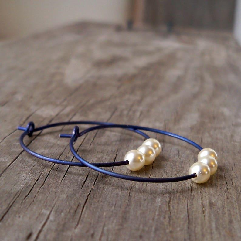 Titanium Hoop Earrings  Hypoallergenic  Blue Hoop Earrings  image 0