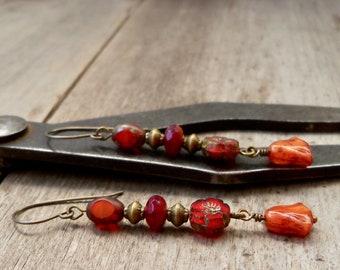 Fall Earrings - Pure Titanium Dangle Earrings - Boho Earrings - Orange Earrings - Copper Earrings - Rustic Orange Tulip Series