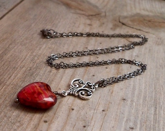 Heart Pendant -Boho Heart Necklace - Rustic Boho Necklace - Red Necklace - Gift for Wife