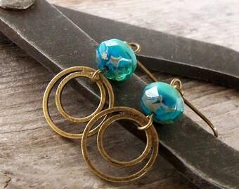 Gift for Her - Blue Earrings - Dangle Earrings - Beaded Earrings - Drop Earrings - Turquoise Earrings - Blue Earrings - Handmade Jewelry