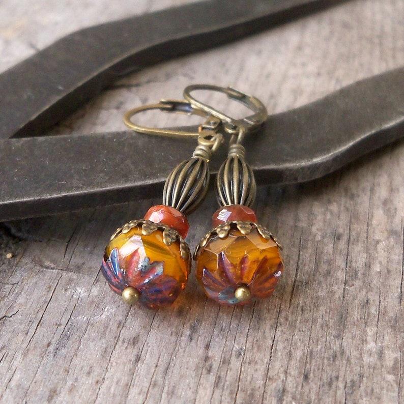 Orange Earrings  Czech Bead Earrings  Pure Titanium Earrings image 0