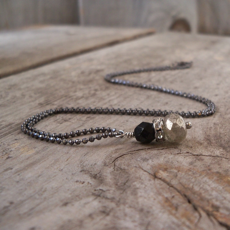Minimalist Bead Necklace  Simple Necklace  Black and Silver image 0