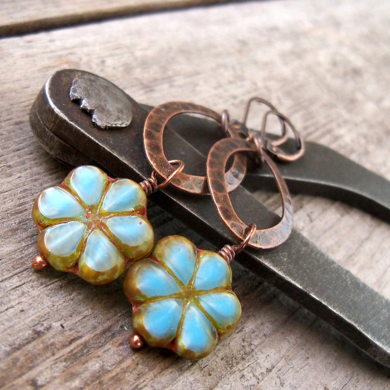Copper Dangle Earrings  Floral Earrings  Boho Jewelry  Boho image 0