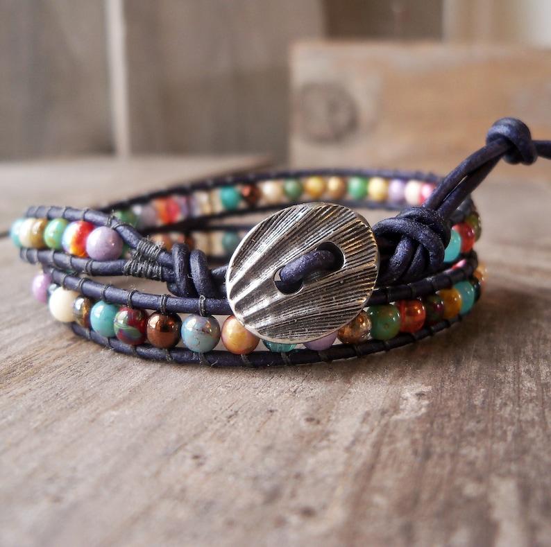 Multi Colored Bohemian Bracelet  Leather Wrap Bracelet  Gift image 0
