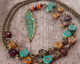 Autumn Jewelry - Leaf Necklace - Long Statement Necklace - Boho Necklace - Orange and Turquoise Necklace - Beaded Necklace - Fall Leaf 2017