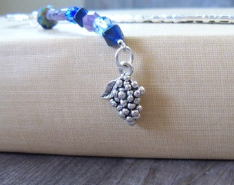 Beaded Bookmark - Metal Bookmark with Grape Charm - Purple and Blue Beaded Bookmark - Gift for Book Lover - Gift for Wine Lover