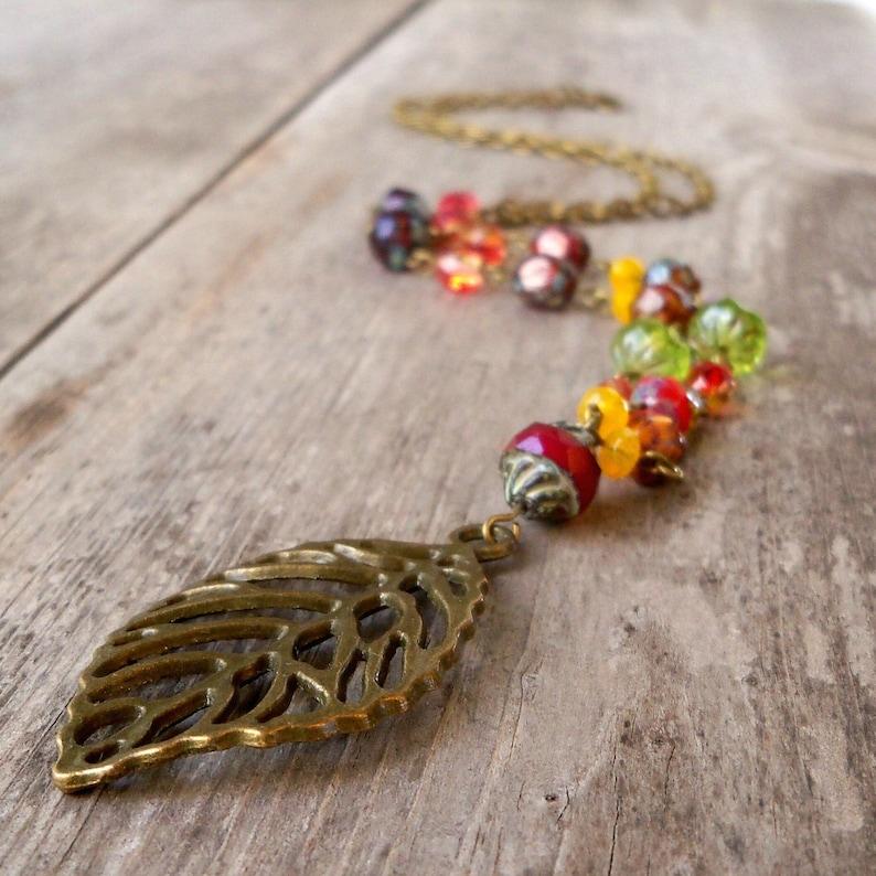 Orange Boho Necklace  Autumn Beaded Necklace  Pendant image 0