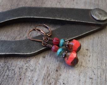 Boho Earrings - Copper Earrings - Boho Jewelry - Coral Earrings - Czech Bead Earrings - Gift for Mom