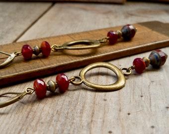 Long Earrings - Fall Jewelry - Autumn Jewelry - Boho Earrings - Burgundy Dangle Earrings - Timeless Autumn Series