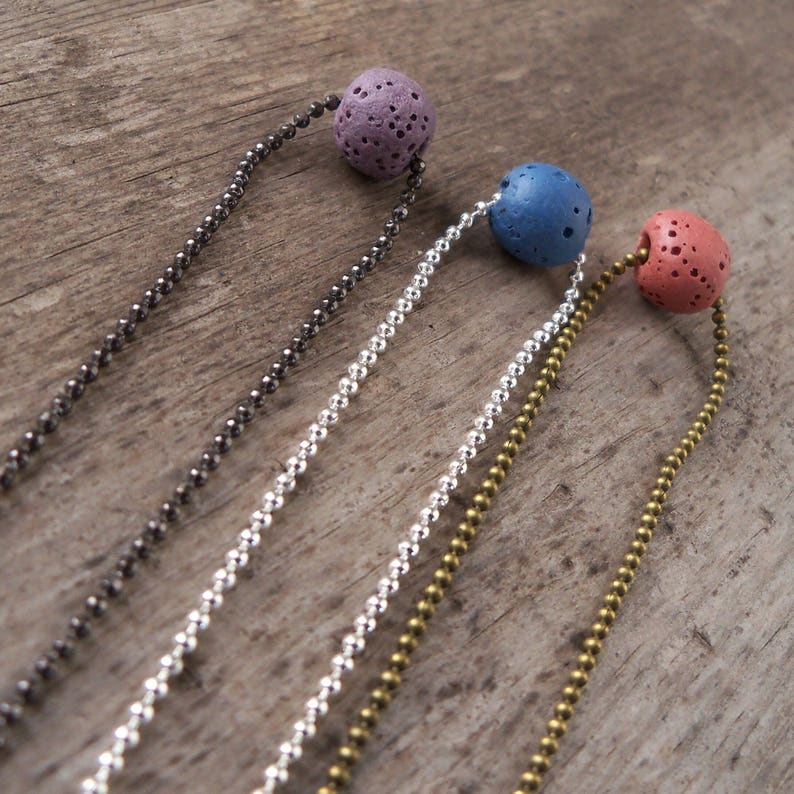 Lava Stone Necklace  Single Bead Diffuser Necklace  image 0