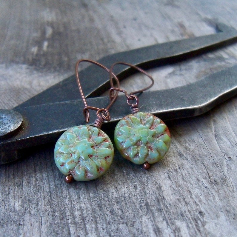 Flower Bead Earrings  Turquoise Green Bead Earrings  Boho image 0