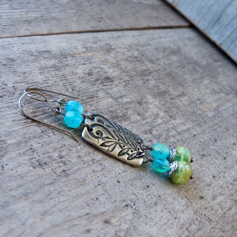 Fora Design Boho Earrings  Long Blue and Green Statement image 0