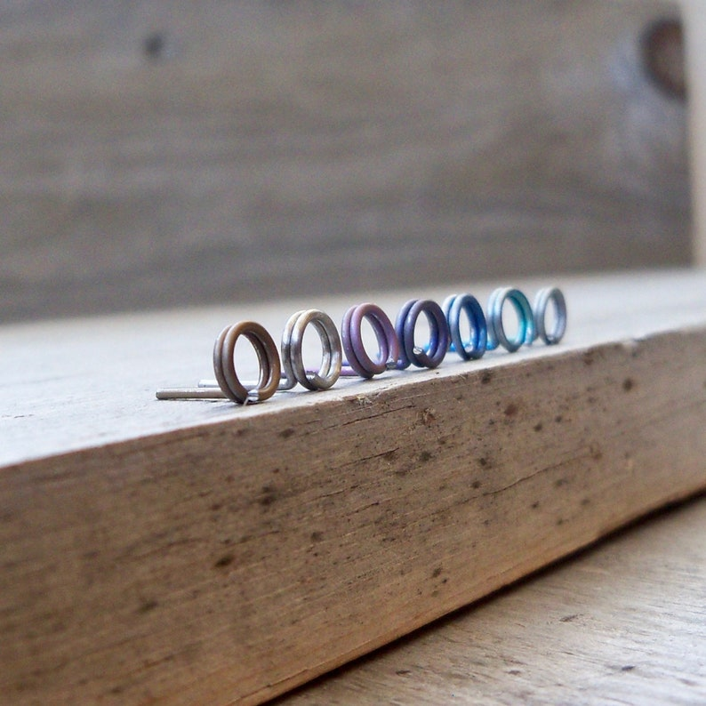 Pure Titanium Post Earrings with Titanium Ear Nuts  image 0