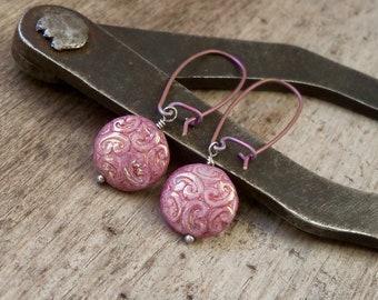 Pure Titanium Dangle Earrings - Hypoallergenic Earrings for Sensitive Ears - Pink Earrings - Czech Glass Bead Jewelry
