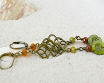 Gift for Mom - Bead Jewelry - Hypoallergenic Jewelry - Flower Earrings - Gift for Her - Boho Jewelry - Sister Gift - Orange and Green Series
