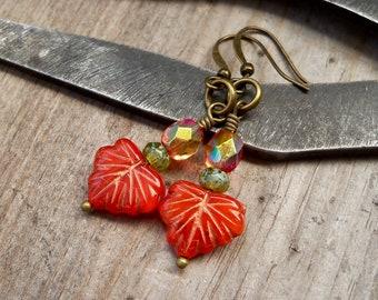 Leaf Earrings - Hypoallergenic Dangle Earrings - Titanium Drop Earrings - Orange Earrings - Autumn Series16