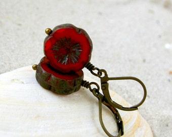 Short Earrings - Dangle Earrings - Hypoallergenic - Drop Earrings - Orange Bead Earrings - Gift Idea - Titanium - Orange and Green Series