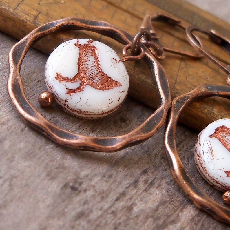 Baby Chick Earrings  Boho Jewelry  Copper and White Chick image 0