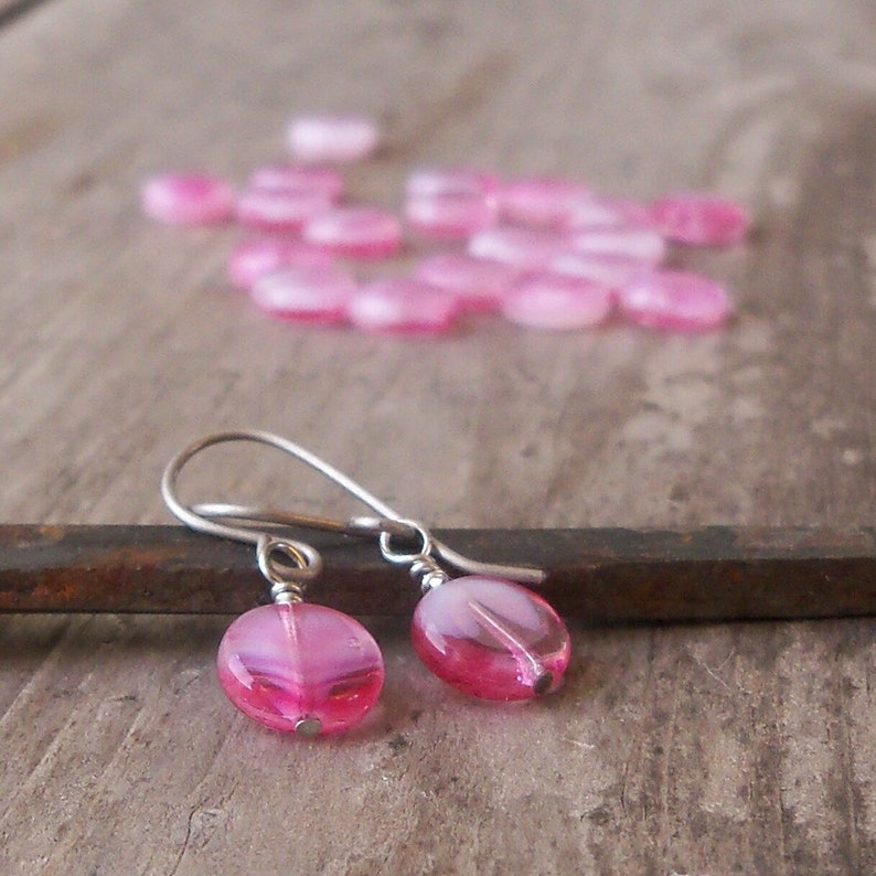 Little Pink Earrings for Sensitive Ears  Pure Titanium image 0