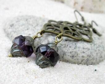 Dangle Earrings - Amethyst Earrings - Purple Earrings - Hypoallergenic - Drop Earrings - Titanium Earrings - Sensitive Ear - Autumn Series16