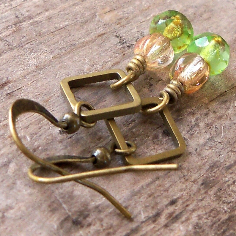 Lightweight Antique Brass Earrings  Green Dainty Earrings  image 0