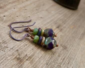 Boho Style Dangle Earrings - Pure Titanium Hypoallergenic Earrings - Copper Jewelry - PurpleGreen19 Series