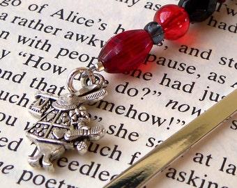 Rabbit Bookmark - White Rabbit Charm with Black and Red Beaded Bookmark - Black and Red Bead Bookmark - Silver Blank