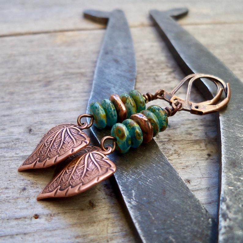 Rustic Earrings  Copper Leaf Earrings  Boho Earrings  Czech image 0