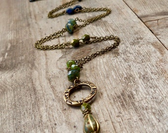 Long Beaded Necklace - Gift for Wife - Long Layering Necklace - Olive Green and Navy Blue Series