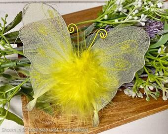 Butterfly Decorations Girls Bedroom Kids Room Baby Nursery Home House Playroom Wedding Birthday Shower Nylon Mesh Fake Decor Yellow Marabou