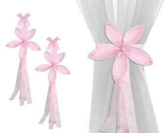 Childs Holdbacks Curtain Tie-Backs Sheer Drapery Window Tie Backs Sheer Tiebacks Nursery Ties Bedroom Holders Room Kids Pink Twinkle Flower