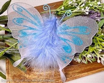 Butterfly Decor Fake Fabric Nylon Hanging Butterflies Mesh Organza Child Nursery Bedroom Ceiling Wall Birthday Baby Shower DIY Blue Marabou