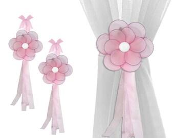 Sheer Holdbacks Curtain Tie-Backs Window Tie Backs Sheer Tiebacks Nursery Ties Bedroom Drapery Holders Children Room Kid Pink Glitter Flower