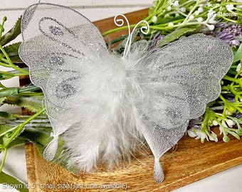 Butterfly Wedding Decoration Bridal Party Table Centerpiece Floral Arrangements Veil Nylon Mesh Fake Fabric Hanging 3D White Silver Marabou
