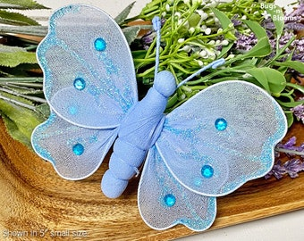 Hanging Butterfly Decor Fake Decorations Nylon Butterflies Girls Nursery Home Bedroom Wall Ceiling Baby Shower Organza Craft Blue Shimmer