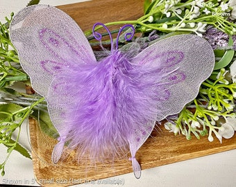 Purple Nylon Hanging Butterfly Decoration Wall Ceiling Garden Baby Nursery Playroom Bedroom Home Table Centerpiece Craft Bride Decor Marabou