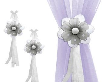 Curtain Tie Backs Sheer Tie-Back Window Tieback Nursery Holdbacks Girl Bedroom Holder Drape Decor Baby Kids Childs Gray Multi-Layered Flower
