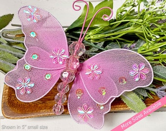 Butterfly Decor Hanging Fake Nylon Mesh Butterflies Decorations Baby Girls Nursery Room Ceiling Wall Wedding Birthday Fuchsia Pink Twinkle