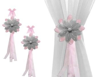 Childs Curtain Tie Backs Sheer Tie-Back Window Tieback Nursery Holdbacks Girl Bedroom Holder Drape Kids Decor Baby Pink Gray Two-Tone Flower
