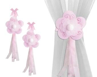 Holdbacks Drapery Curtain Tiebacks Sheer Window Tie-Backs Nursery Tie Backs Girls Bedroom Ties Holders Playroom Decor Pink Shimmer Flower