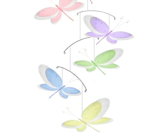 Dragonfly Mobile Nylon Hanging Dragonflies Mobiles, Baby Nursery Mobile, Girls Bedroom Ceiling Mobiles, Room Home Decorations Multi-Layered
