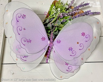 Butterfly Decoration Nylon Hanging Butterflies Fake Decorative Girls Nursery Bedroom Room Home Wall Ceiling Party Decor Purple Multi-Layered