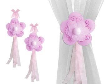 Baby Curtain Tiebacks Girls Bedroom Tie-Backs Drapery Holdbacks Pullbacks Pulls Ties Hold-Backs Kid Childs Girls Fuchsia Pink Shimmer Flower