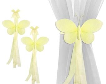 Curtain Tie Backs Sheer Tie-Back Window Tieback Baby Nursery Holdbacks Girl Bedroom Holder Drapery Pulls Home Decor Yellow Flutter Butterfly