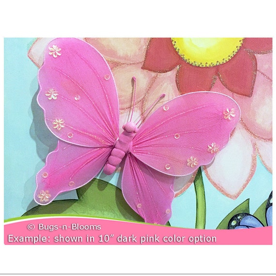 Fuchsia Butterfly Hanging Decorations Nylon Butterflies Nylon Fabric Decorative Kids Nursery Bedroom Wall Ceiling Baby Shower Decor 3d Jewel