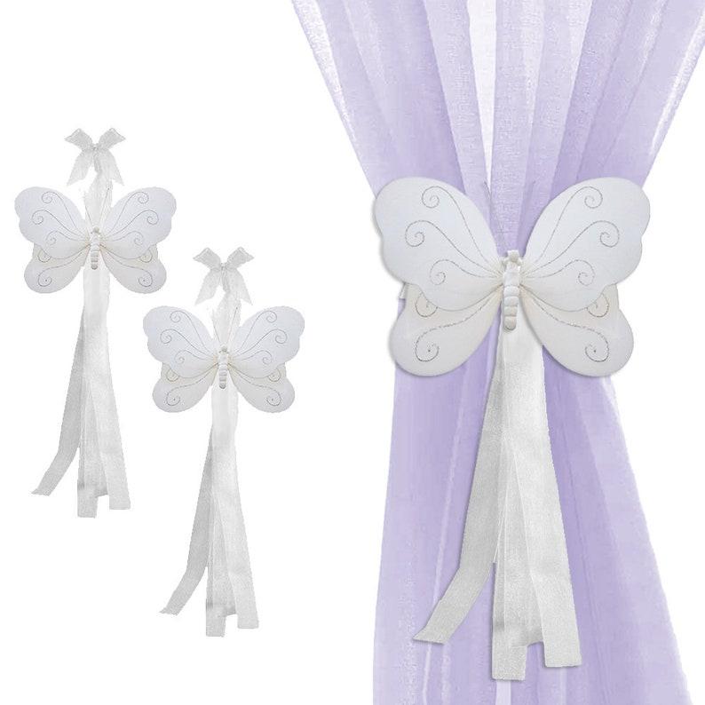 White Butterfly Tie-Back Tiebacks Curtain Tie Backs Holders image 0