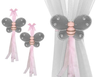 Curtain Holdbacks Sheer Tiebacks Window Tie-Backs Drapery Tie Backs Nursery Ties Girls Room Holder Decor Bumble Bee Bees Pink Gray Hailey