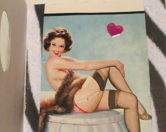 Vintage Pin Up Girl Sexy Legs Greeting Card Made With Upcycled Paper