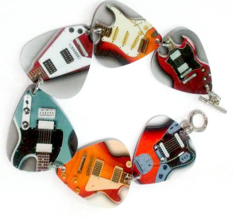 Guitar pick bracelet made with guitar photo picks image 0