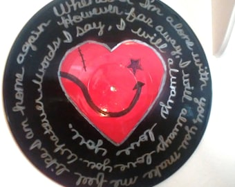"The Cure ""Lovesong"" Song Lyrics Record Album Art Made From An Upcycled LP"